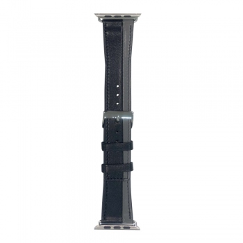 Dvoubarevný kožený řemínek s přezkou pro Apple Watch 38/40mm - černý