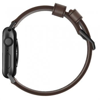 Nomad Modern Leather Strap Brown řemínek pro Apple Watch 42/44mm - černé přezky