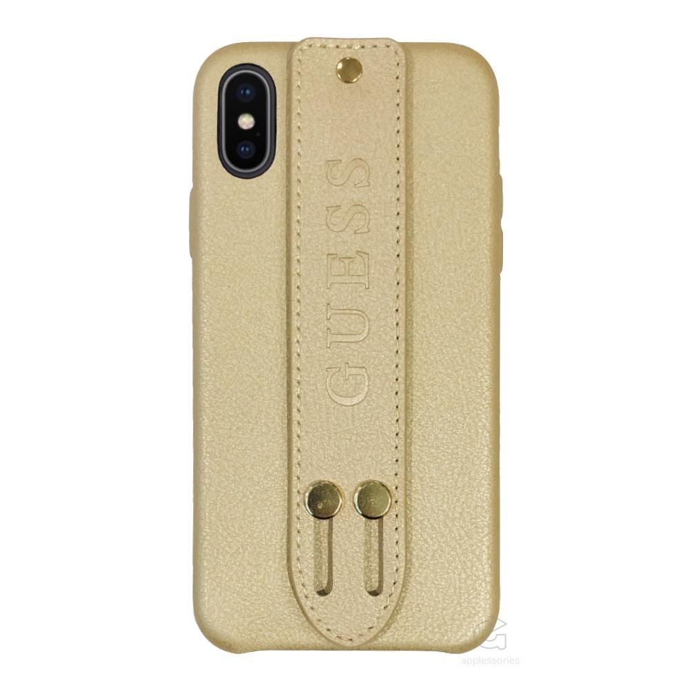 Guess Saffiano Strap kryt pro iPhone Xs / X - béžové