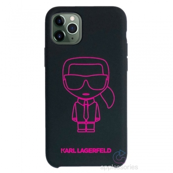 Karl Lagerfeld Neon Silicone kryt na iPhone 11 Pro Max - černé