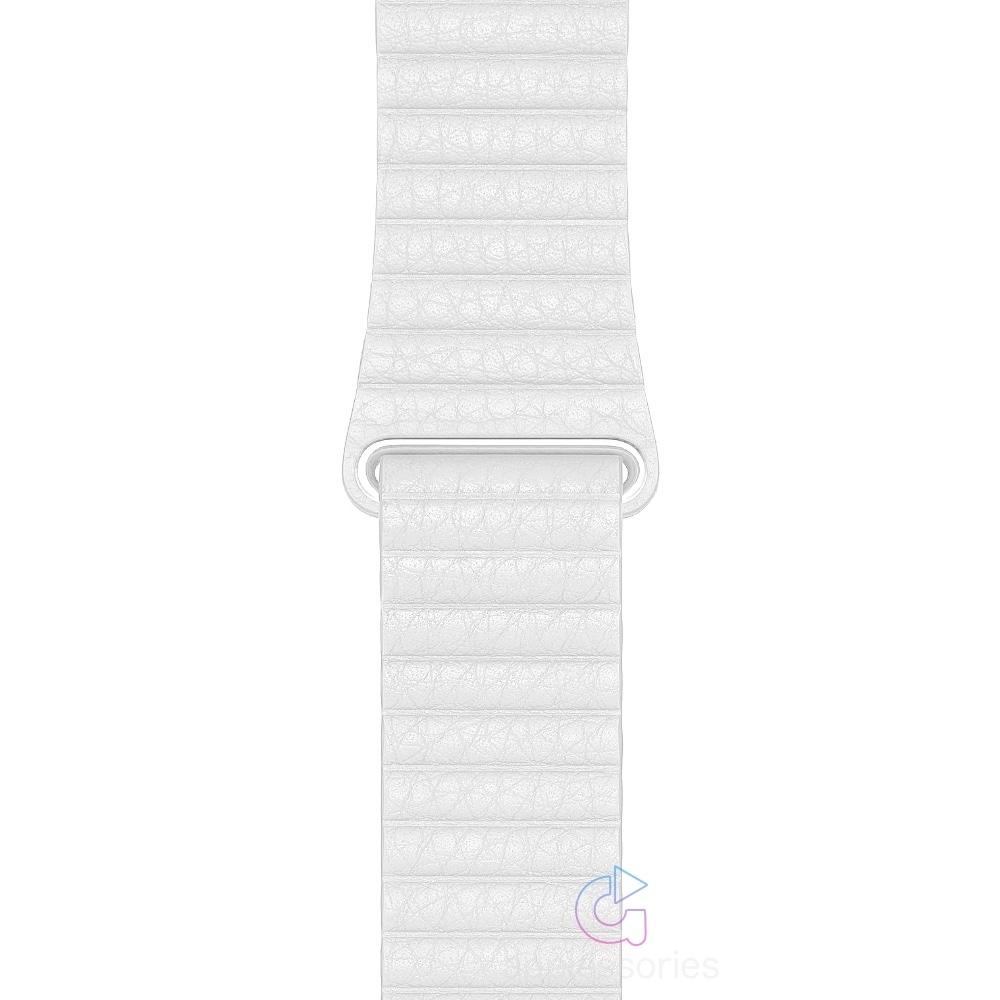 Coteetci kožený magnetický řemínek pro Apple Watch 42mm / 44mm - bílá