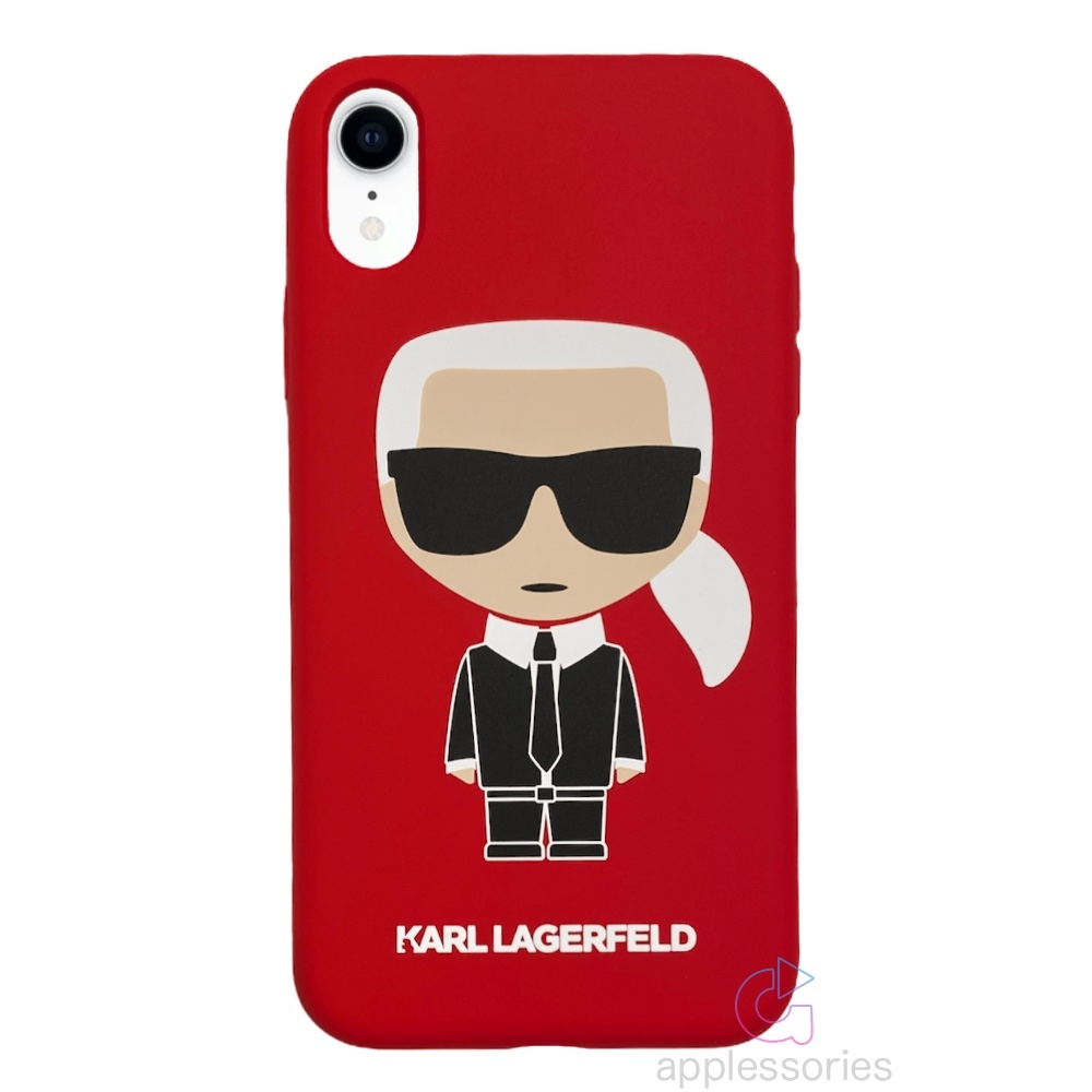 Karl Lagerfeld Ikonik Silicone kryt na iPhone XR - červený
