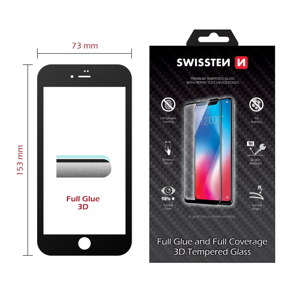 Swissten 3D Ultra Durable Tempered Glass for iPhone 8 Plus / 7 Plus