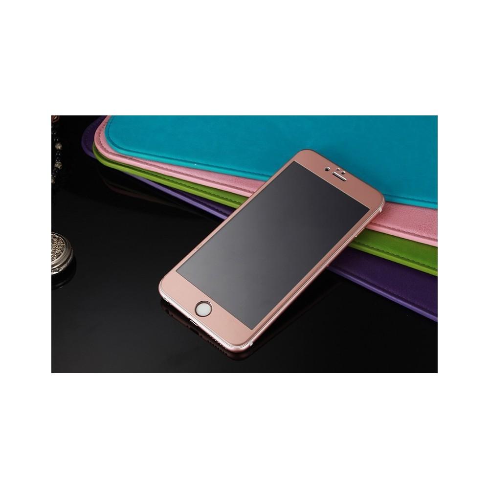 Tvrzené sklo s 3D titanovým rámečkem na iPhone 6/6S + záda, Barva Růžová
