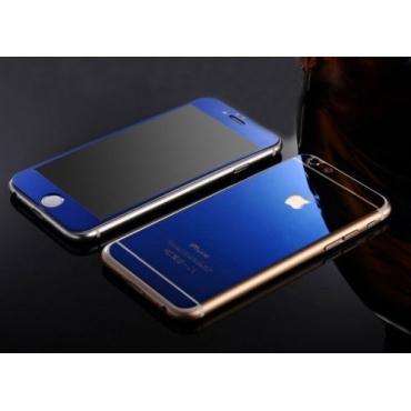 Zrcadlové sklo přední a zadní na iPhone 6 modré