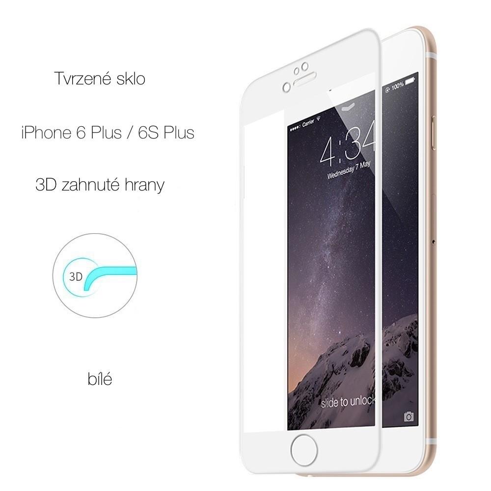 Tvrzené sklo s 3D rámečkem na iPhone 6/6S Plus, Barva Bílá
