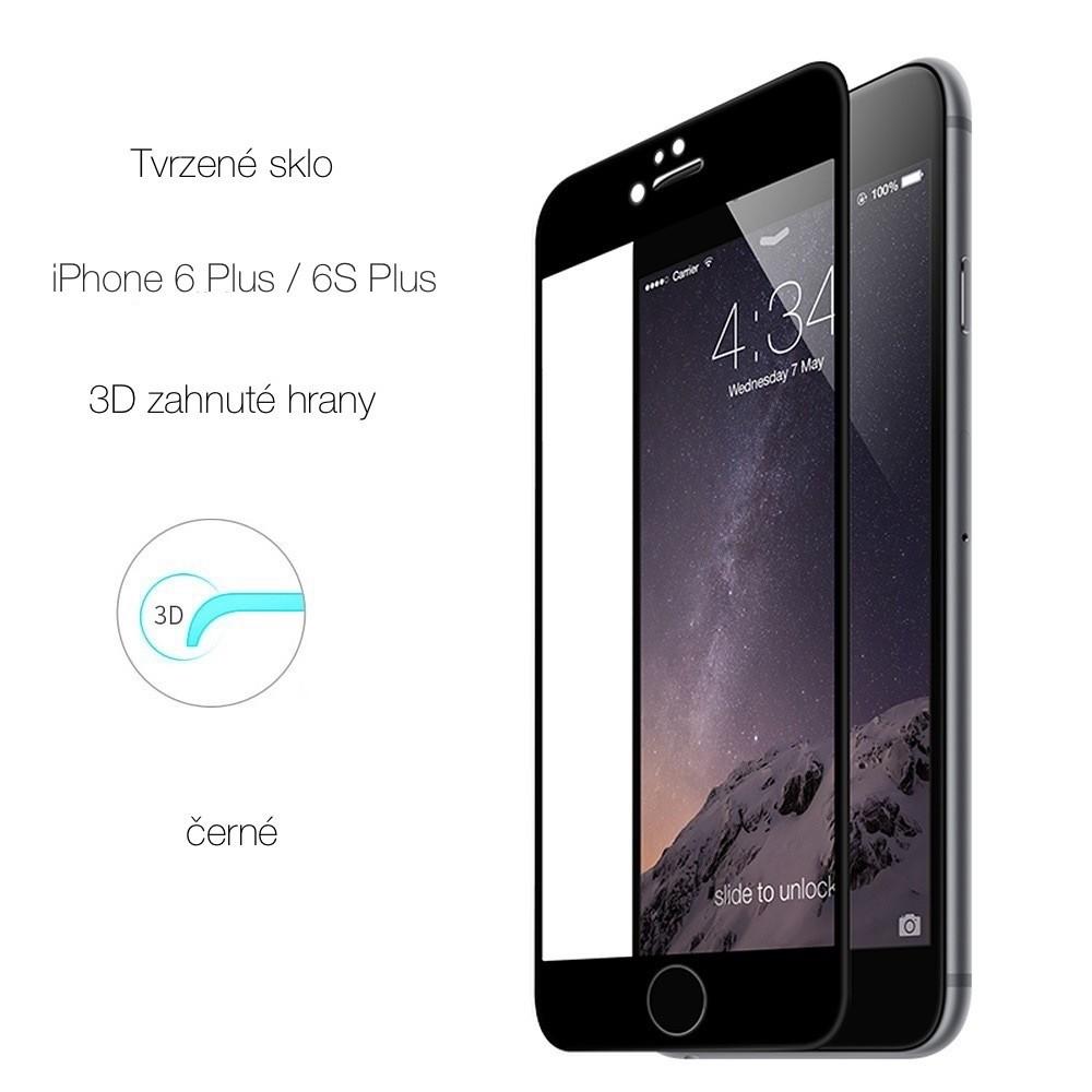 Tvrzené sklo s 3D rámečkem na iPhone 6/6S Plus, Barva Černá