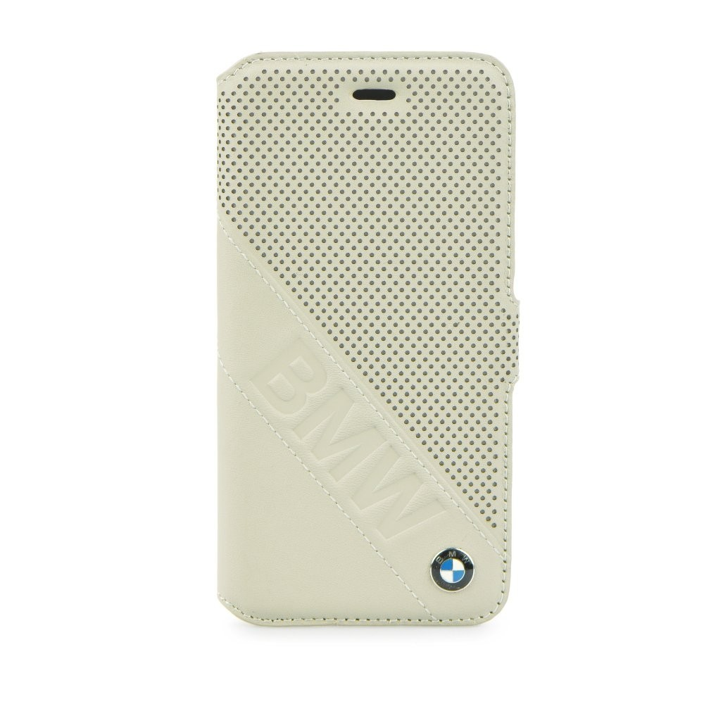 BMW Perforated Leather Book pouzdro pro iPhone 6/6S, Barva Béžová
