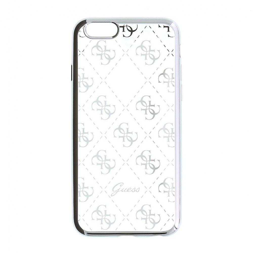 Pouzdro Guess 4G TPU iPhone 5/5S/SE, Stříbrná