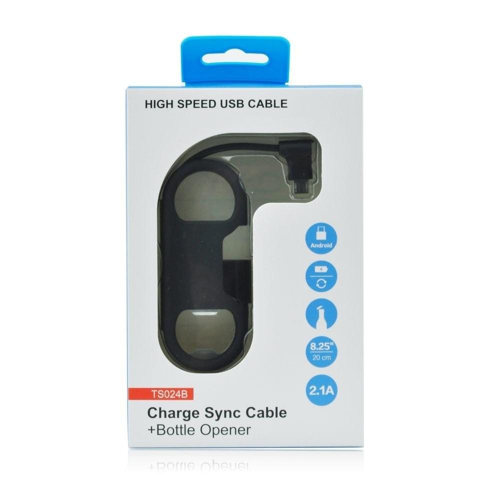 Nabíjecí kabel pro iPhone s otvírákem na láhve, Černá