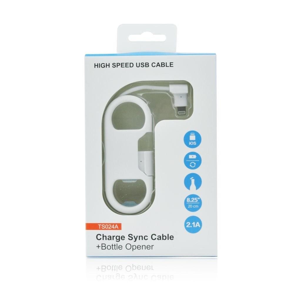 Nabíjecí kabel pro iPhone s otvírákem na láhve, Bílá