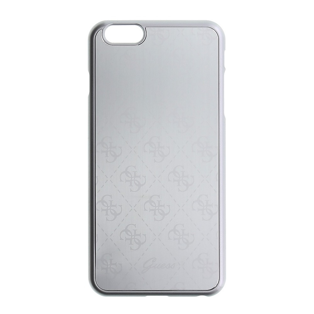 GUESS 4G Signature Aluminium kryt pro iPhone 6/6S, Stříbrná