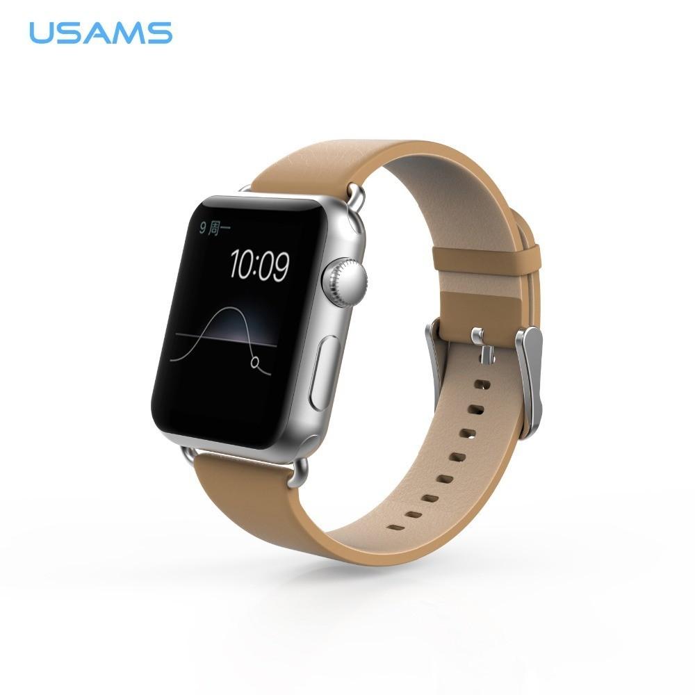USAMS kožený řemínek pro Apple Watch (42mm), Béžová