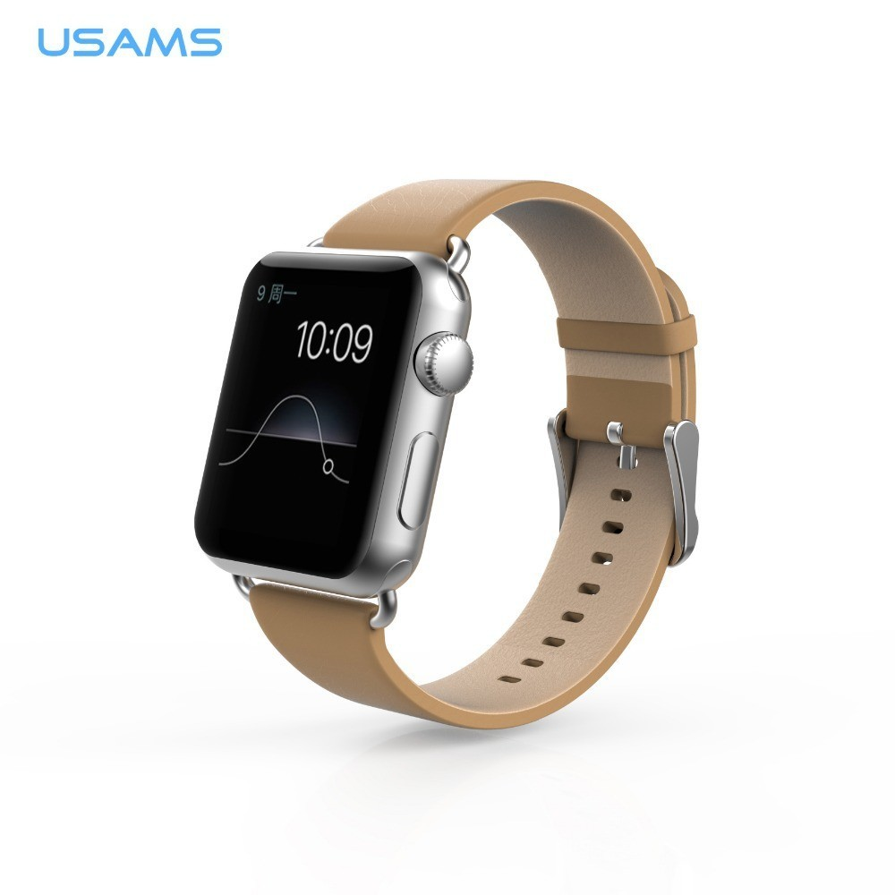 USAMS kožený řemínek pro Apple Watch (42mm), Barva Béžová