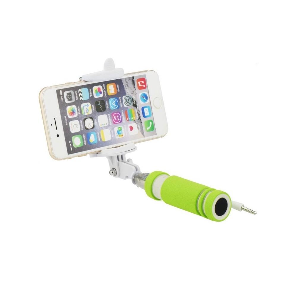 Selfie tyč Blun 50cm s ovládáním na rukojeti, Zelená