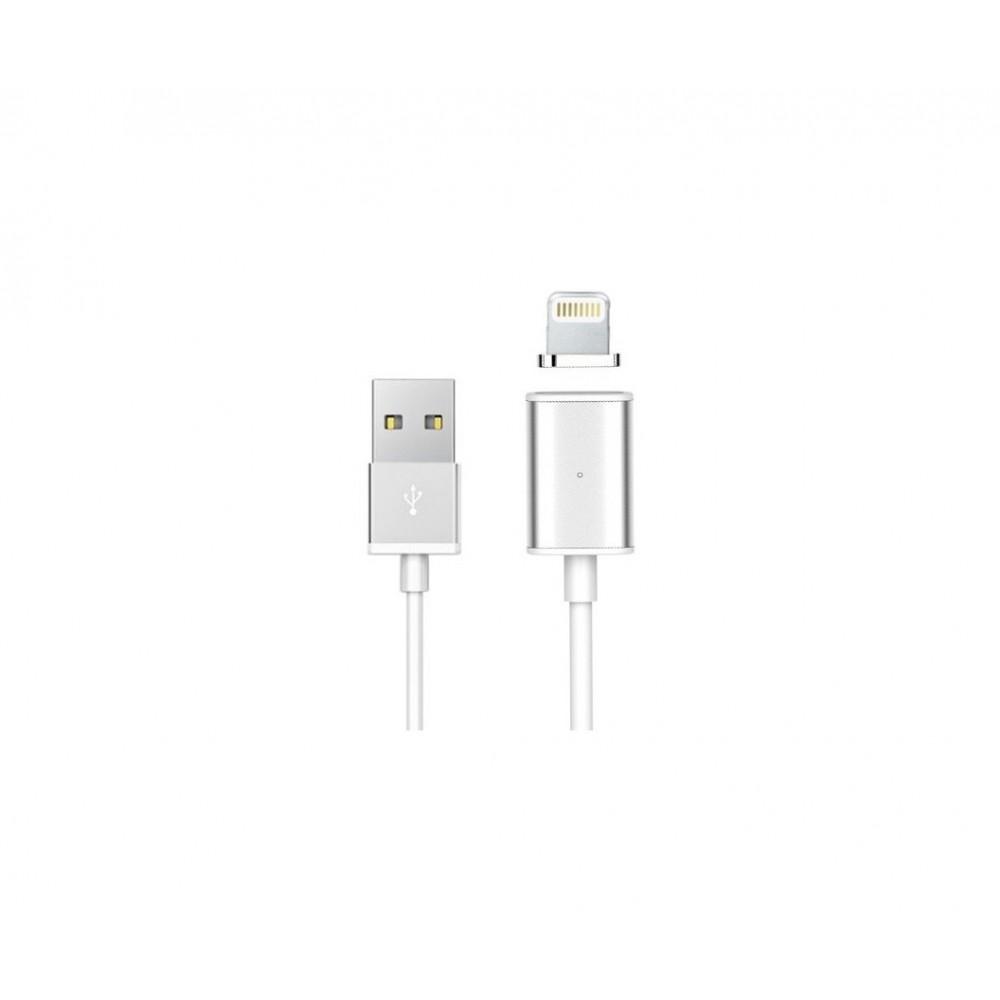 USAMS Magnetický kabel lightning pro iPhone, Barva Stříbrná