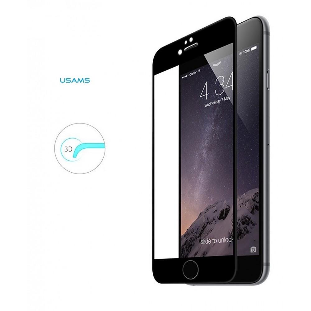 USAMS tvrzené sklo 3D 9H iPhone 7 IP73DM01, Černá