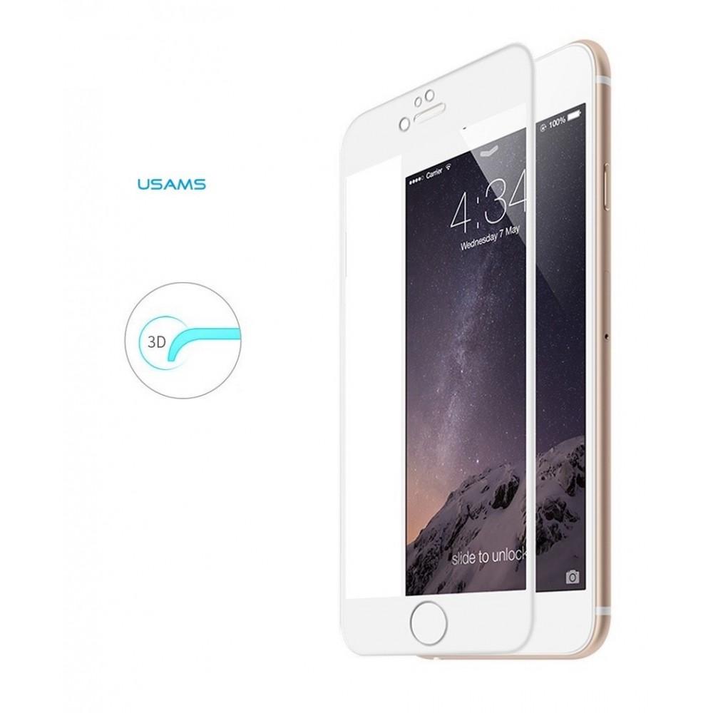 Tvrzené sklo USAMS s 3D rámečkem na iPhone 7 Plus, Barva Bílá