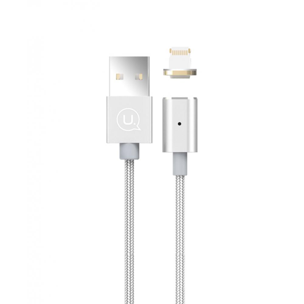 Magnetický kabel USAMS Metal Magnetic Lightning, Barva Stříbrná