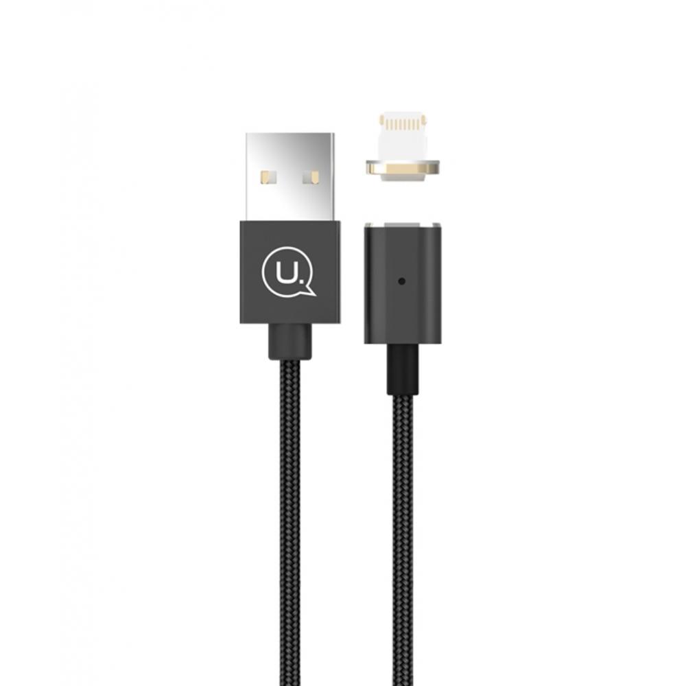 Magnetický kabel USAMS Metal Magnetic Lightning, Barva Černá