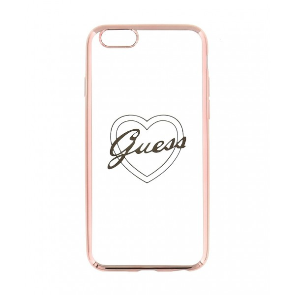 Guess Signature Heart TPU Case pro iPhone 6/6S Plus růžovo zlaté