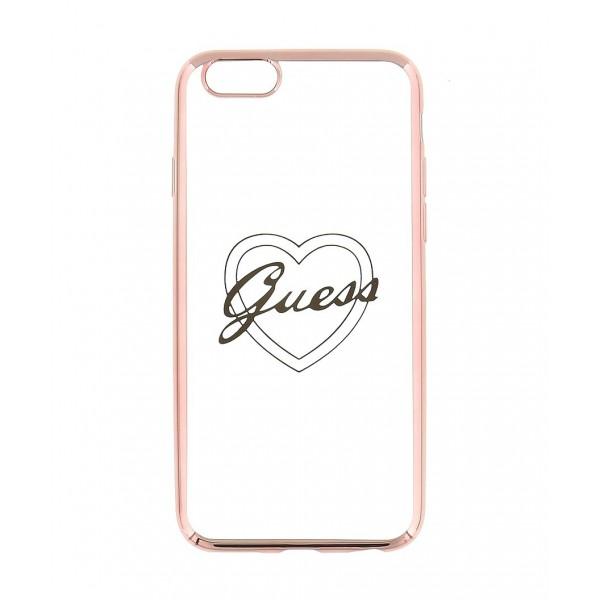 Guess Signature Heart TPU Case pro iPhone 6/6S Plus růžovo zlaté