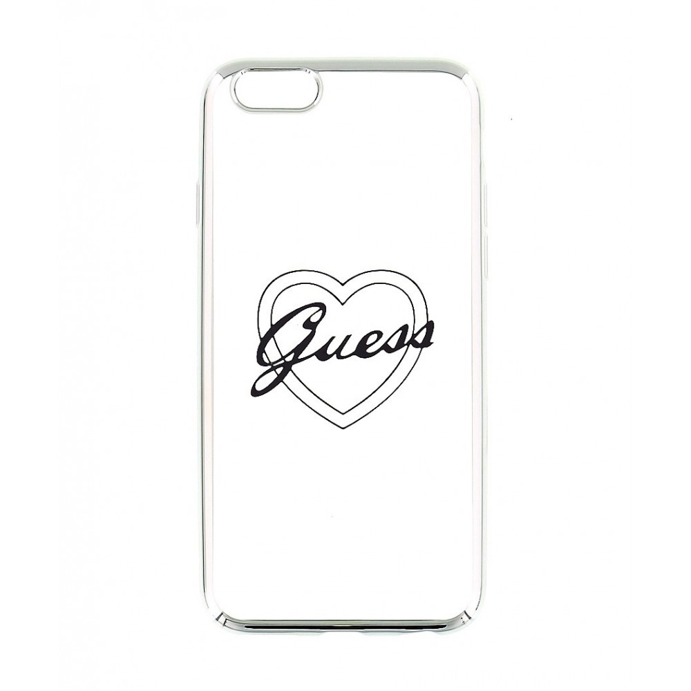 Guess Signature Heart TPU Case pro iPhone 6/6S Plus, Stříbrná