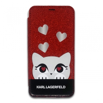 Karl Lagerfeld Choupette Valentine Glitter Book Case for iPhone X