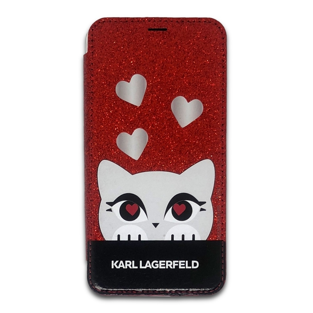 Karl Lagerfeld Choupette Valentine Glitter Book Case for iPhone Xs / X