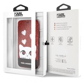 Karl Lagerfeld Choupette Valentine Glitter pouzdro pro iPhone Xs / X