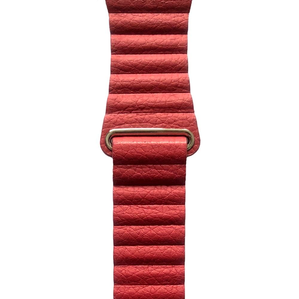 Coteetci kožený magnetický řemínek pro Apple Watch 38mm / 40mm - červený